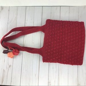 The sak red knit hand bag purse double strap